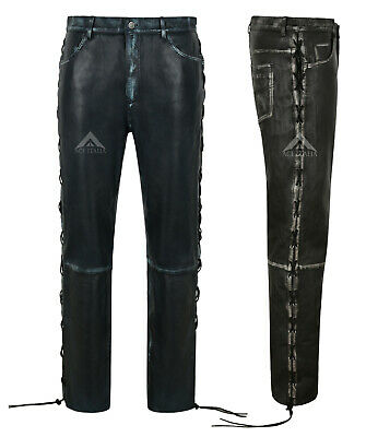£110 • Buy Mens Biker Pants Laced Vintage Leather Trousers Real Lambskin Riding Pants 00126