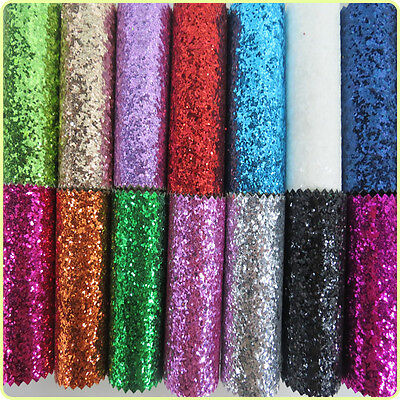 Sparkly Chunky Glitter Vinyl Fabric Faux Leather Sheets Decor Bow Craft Material • 1.69£