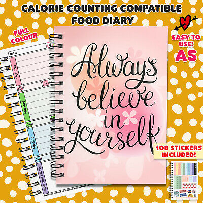 Food Diary Calorie Counting Wellbeing Plan Log Journal Book Notes Fitness Diet  • 5.35£