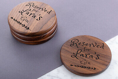 Personalised Engraved Wooden Walnut Coasters Wedding Perfect Gift Custom Round • 7.99£