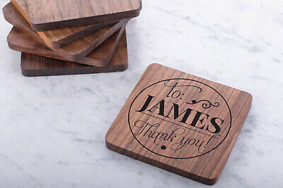 Personalised Engraved Wooden Walnut Coasters Wedding Gift Custom Rectangle • 7.99£