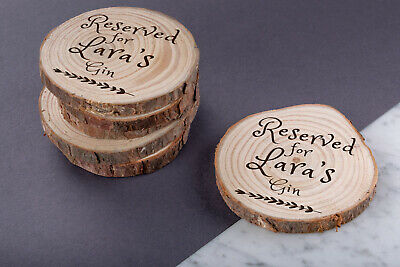 Personalised Engraved Wooden Wood Log Coasters Wedding Gift Custom Round • 7.99£