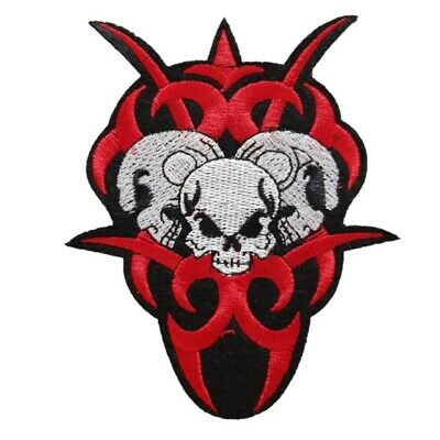 £2.59 • Buy Red And White Evil Skull Head - Iron On Patch Sew On Transfer Satanic Skull