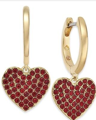 $ CDN58.80 • Buy $58 Kate Spade  Yours Truly  Red Pave Heart Dangle Drop Earrings #513