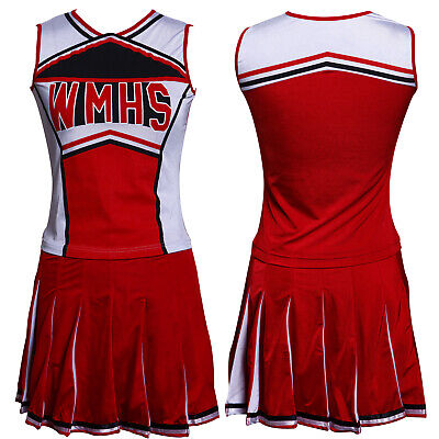 Glee Club Style Cheerios Cheer Girl Costume Adult Cheerleader Outfit Poms New • 16.99£