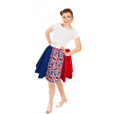 OLYMPICS TEAM GB FLAG UK UNION JACK Pattern Circle Skirts Supporters Costume  • 13.99£