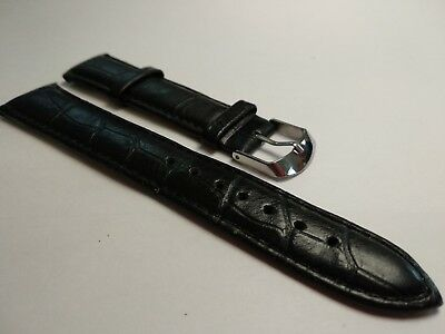 Black Leather Watch Strap And Buckle Fits Tissot Armani Omega Pulsar +free Tools • 9.90£