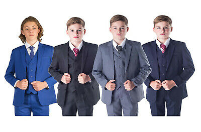 £24.99 • Buy Boys Suits 5 Piece Wedding Page Boy Party Prom Suit Blue Black Grey Baby-14 Yrs