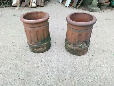 Chimney Pots,terracotta Red Clay Matching Pair Of Pots, £45 + Vat Each • 54£