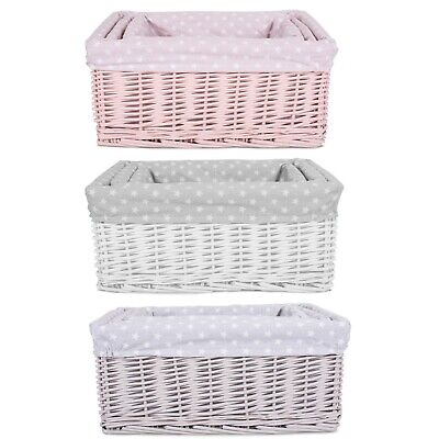 Colorful Painted Nursery Baby Room Wicker Storage Basket New Born Gift Hamper   • 13.99£