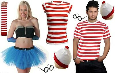 New Men's Women's Outfit Red & White Fancy Dress Kit Set Book Week Day Costume • 2.99£