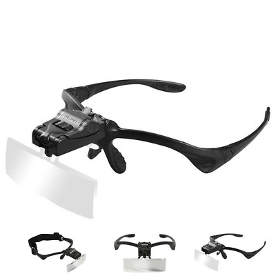 Glass Magnifying Visor Magnifier Glasses With 2 LED Jewelers Loupe Light 5Lens  • 15.27£