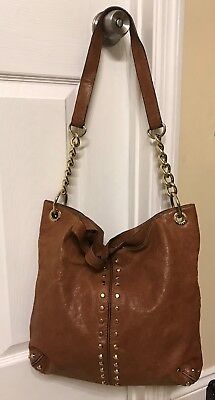a894264573a1 Michael Kors Uptown Astor Studded Large Whiskey Brown Tumbled Leather Tote  • 89.99