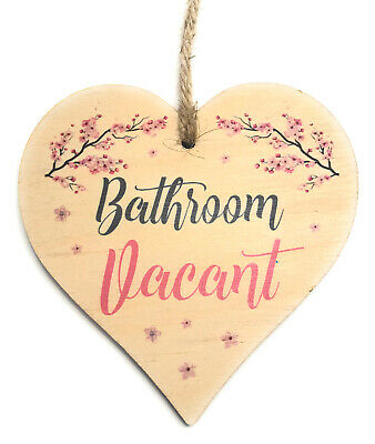£5.99 • Buy Engaged Vacant Double Sided Wooden Hanging Bathroom Door Sign Decorative Plaque