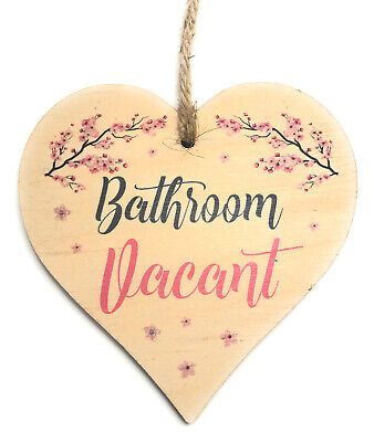 Engaged Vacant Double Sided Wooden Hanging Bathroom Door Sign Decorative Plaque • 5.99£