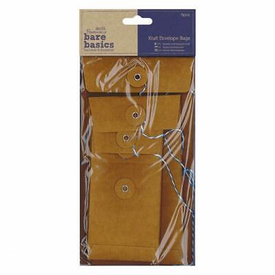 6 Papermania Bare Basics Kraft Rectangular Envelopes Bag With String Tied Brown • 6.49£