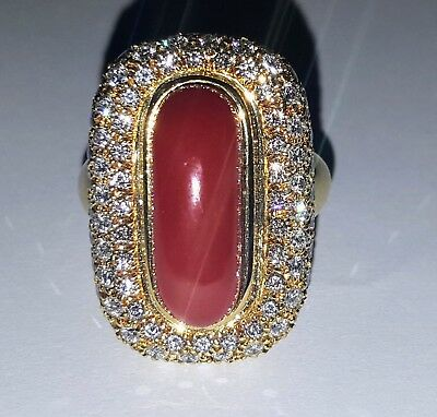 18k Yellow Gold Ring Natural Red Coral • 2,926.88£
