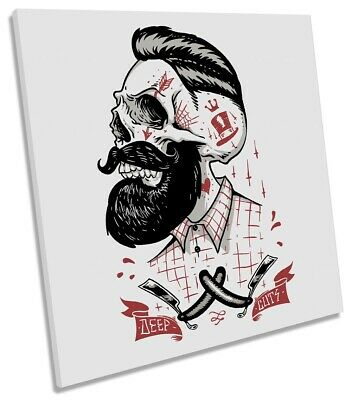 £31.99 • Buy Deep Cuts Hipster Beard Skull Picture CANVAS WALL ART Square Print