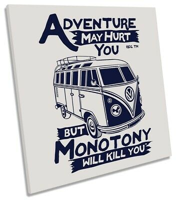 £31.99 • Buy Adventure VW Camper Van Picture CANVAS WALL ART Square Print