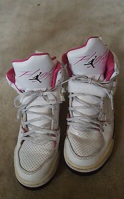 7492044a3ccb Girls Nike Air Jordan Flight 45 White   Vivid Pink   Black Size 7 • 11.99
