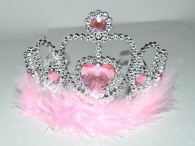 NEW Silver Pink Stone With Fur Trim Childrens Tiara Hair Accessories Party Prom  • 4.49£