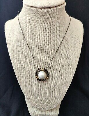 $149.99 • Buy Jewels Of Istanbul Mabe' Pearl And White Topaz Pendant SS Necklace RET $220 NWT