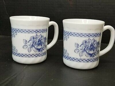 Arcopal France Honorine 2 Coffee Cups Mugs Blue/White Floral Roses • 16.99$