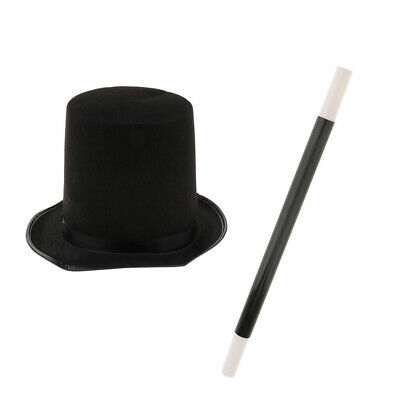 Magician Black Top Hat Magic Wand Props Set Party Fancy Dress Stage Costume • 5.64£