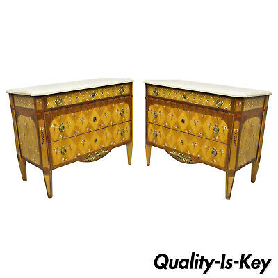 $12000 • Buy Pair Floral Painted Travertine Marble Top Commode Chest Dresser By E.J. Victor
