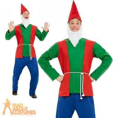 Adult Men Garden Gnome Dwarf Costume Fairy Tale Stag Book Day Fancy Dress Outfit • 15.99£