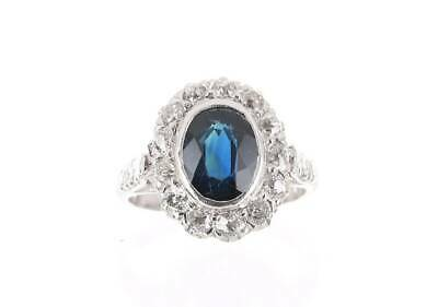 £1718.76 • Buy 2.70tcw Blue Sapphire And Diamond Halo Pure White Gold Kate Middleton Sapphire