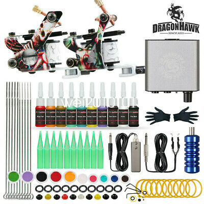 Dragonhawk Tattoo Kit 2 Machines Guns Color Inks Power Supply Needles Tips Grip • 44.95£