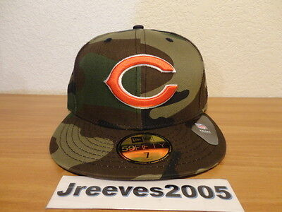 6f2a7d7e6545a3 NWT New Era CHICAGO BEARS Woodland Camo Fitted Hat Sz 7 100% Authentic NFL •