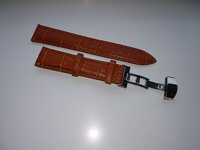 LEATHER DEPLOYMENT BUCKLE WATCH STRAP FOR OMEGA SEAMASTER SPEEDMASTER 18-24 Mm • 14.50£