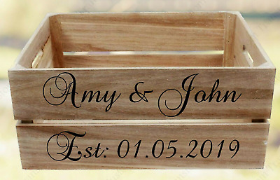 £7.99 • Buy Personalised Wedding Crate Stickers For Cards Gifts Treats. Name Date Wood Crate