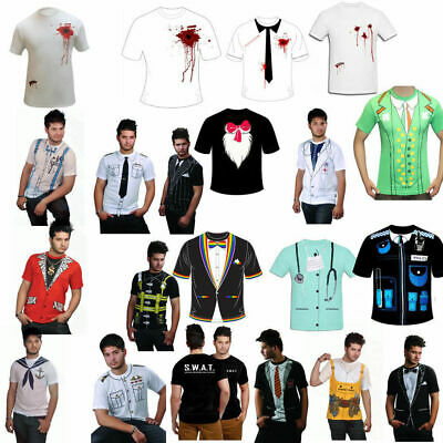 Printed T-Shirt Mens Fancy Dress Costume Stag Do Party Casual T Shirts Cowboy • 5.99£