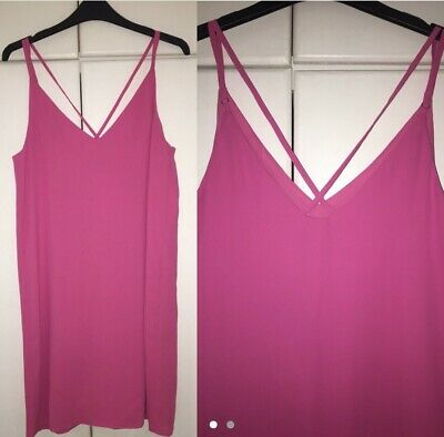 Brand New With Tags - Topshop Pink Cami Dress With Cross Over Back • 8£