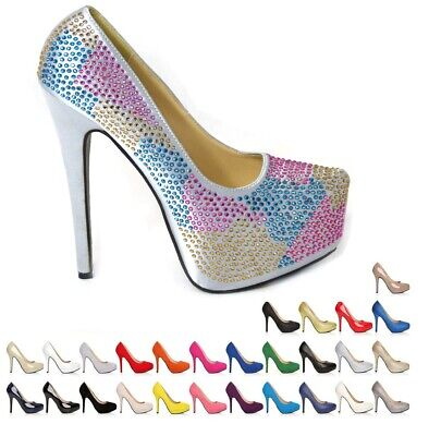 New Ladies Womens Stiletto High Heel Court Shoes Size 3 4 5 6 7 8  • 12.99£