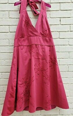 RJR JOHN ROCHA Pink Dress.Backless Tie Up Neck. Size 22 Floral Pattern Sequins • 30£