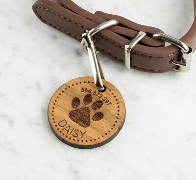 Personalised Engraved Wooden Pet ID Collar Tags Cat Dog  35mm Paw Print • 4.99£