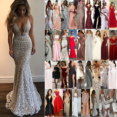 Women's Formal Wedding Evening Cocktail Ball Gown Party Prom Bridesmaid Dresses • 16.62£