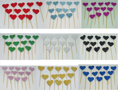 £2.99 • Buy 12 Glitter Heart Cupcake Toppers,  Party Decoration, Cup Cake Topper Food Flags