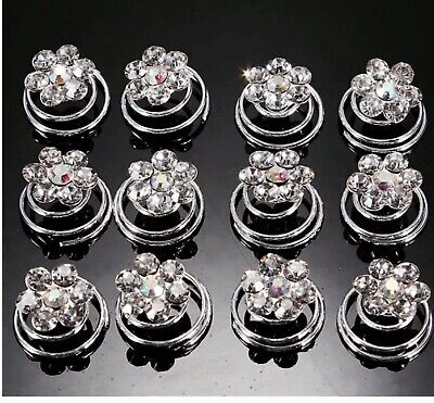 £3.85 • Buy Hair Jewels.springs.coils.spirals.AB /diamante. Pack Of 12.bridal.brides.party.