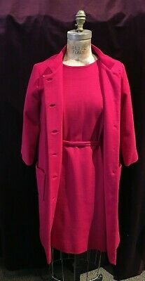 £98.22 • Buy Vintage 1960s Fuchsia 2pc Suit: Coat And Dress By Rona Jackie O' Style