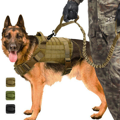AU58.99 • Buy K9 Military Dog Training Harness With Bungee Lead Tactical Adjustable Rottweiler