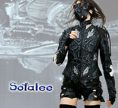 $ CDN876.61 • Buy USA. CyberPunk Jacket Of Genuine Leather For Women. Style White Black Jacket. SM