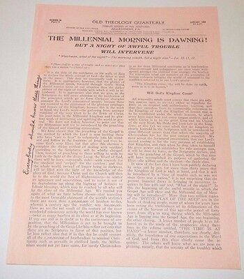 $8.75 • Buy 1908 OTQ 80c The Millennial Morning Is Dawning 4pgs  Repro Watchtower