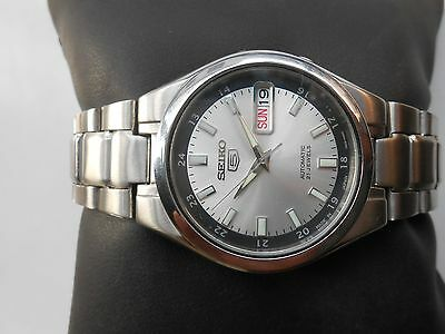 $ CDN120.66 • Buy VTG SS SEIKO 5 MILITARY STYLE 35 Mm SILVER WHITE DIAL MEN AUTOMATIC WRISTWATCH