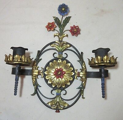 Antique Ornate Hand Wrought Iron Cold Painted Brass Candle Holder Wall Sconce • 130.31£