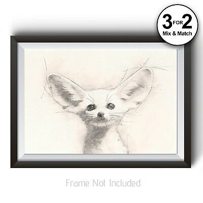 Fennec Fox Wall Art Print On 100% Cotton - Animal Pencil Drawing Minimalism • 11.95£